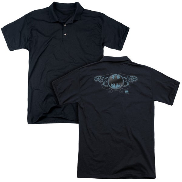 Batman/Two Gargoyles Logo (Back Print) Mens Regular Fit Polo in Black