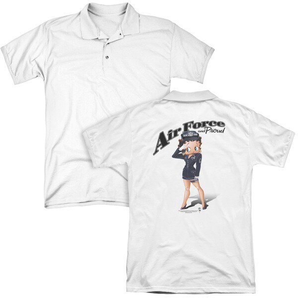 Betty Boop/Air Force Boop (Back Print) Mens Regular Fit Polo in White