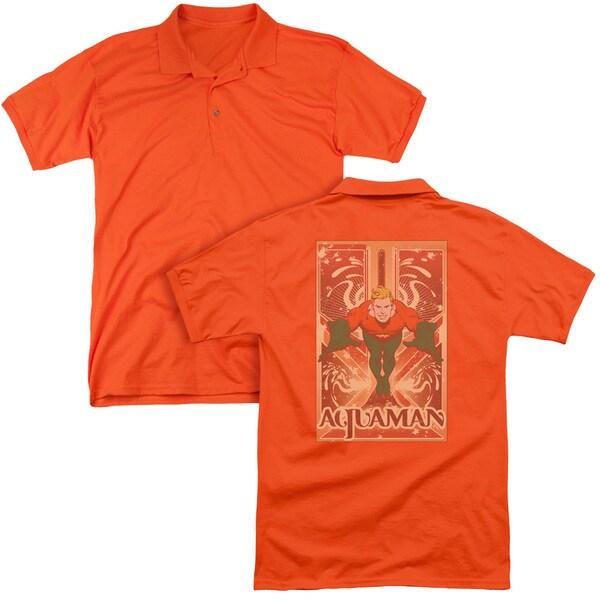DC/Aquaman (Back Print) Mens Regular Fit Polo in Orange