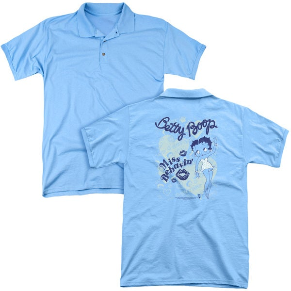 Betty Boop/Miss Behavin' (Back Print) Mens Regular Fit Polo in Carolina Blue