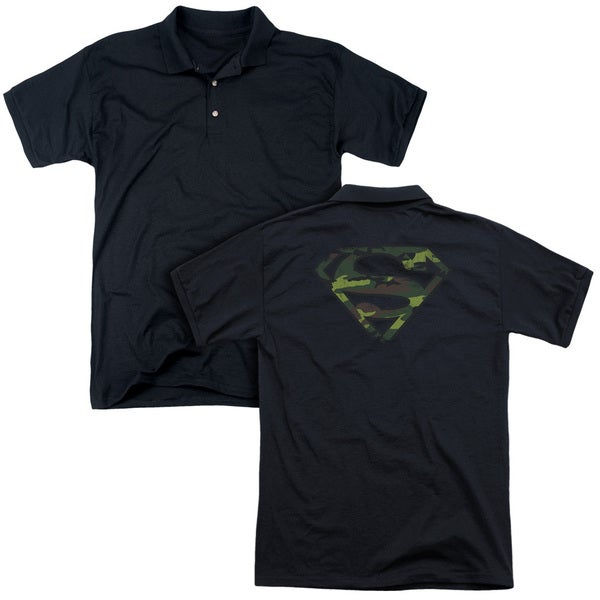 Superman/Distressed Camo Shield (Back Print) Mens Regular Fit Polo in Black