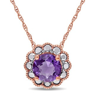 Miadora 10k Rose Gold Amethyst Solitaire Flower Halo Birthstone Drop Necklace