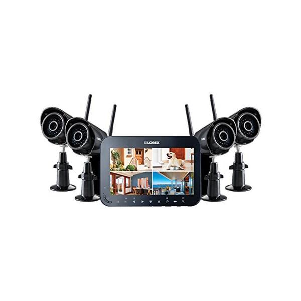 Lorex Wireless Video Surveillance System + 7-Inch Monitor + (4) Weather-Resistant Cameras