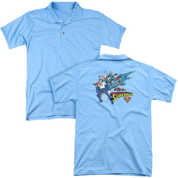 DC/Quick Change (Back Print) Mens Regular Fit Polo in Carolina Blue