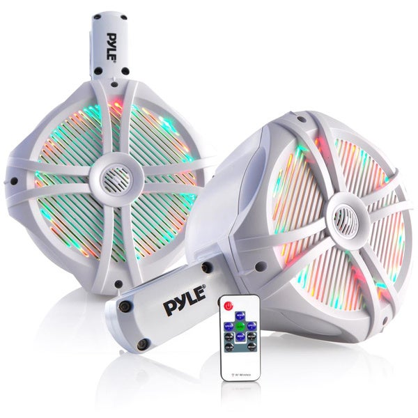 Pyle PLMRWB85LEW Multicolor LED Lights 260-watt Dual Marine Wakeboard Water Resistant 8-inch White Tower Speakers 19155345