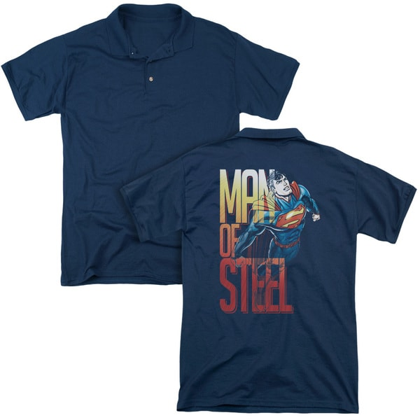 Superman/Steel Flight (Back Print) Mens Regular Fit Polo in Navy