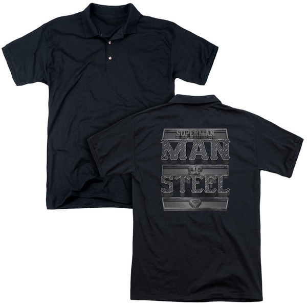 Superman/Steel Text (Back Print) Mens Regular Fit Polo in Black