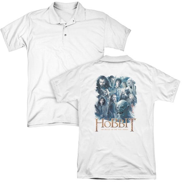 Hobbit/Main Characters (Back Print) Mens Regular Fit Polo in White