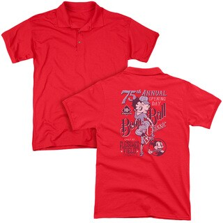 Betty Boop/Boop Ball (Back Print) Mens Regular Fit Polo in Red
