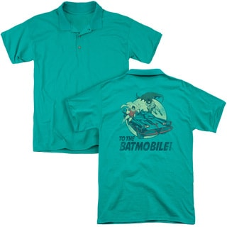 Batman Classic Tv/To The Batmobile (Back Print) Mens Regular Fit Polo in Kelly Green