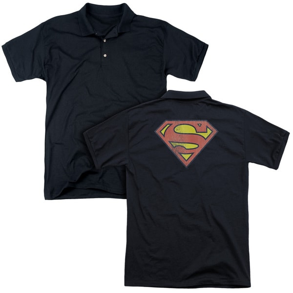 DC/Retro Supes Logo Distressed (Back Print) Mens Regular Fit Polo in Black