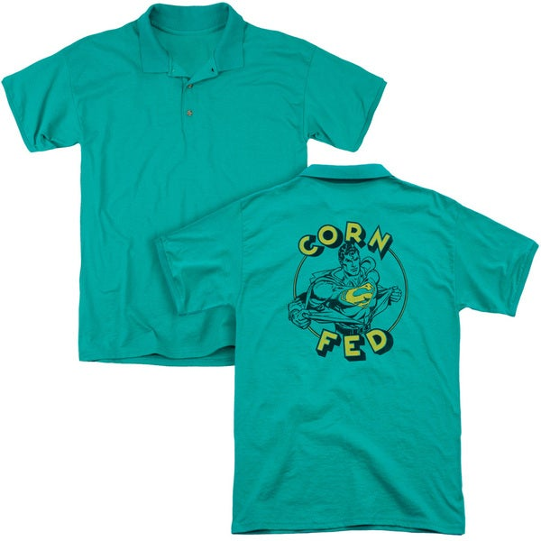 Superman/Corn Fed (Back Print) Mens Regular Fit Polo in Kelly Green