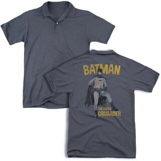 Batman Classic Tv/Caped Crusader (Back Print) Mens Regular Fit Polo in Charcoal