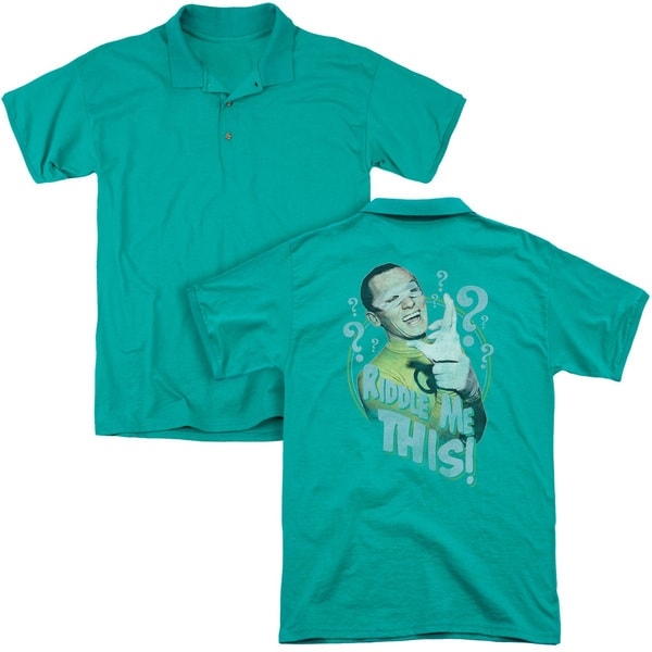 Batman Classic Tv/Riddle Me This (Back Print) Mens Regular Fit Polo in Kelly Green
