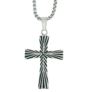 Men's Two-tone Black Oxidized Stainless Steel Cross Pendant