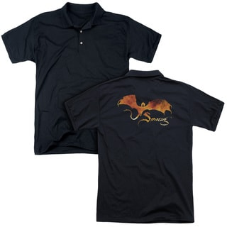 Hobbit/Smaug On Fire (Back Print) Mens Regular Fit Polo in Black