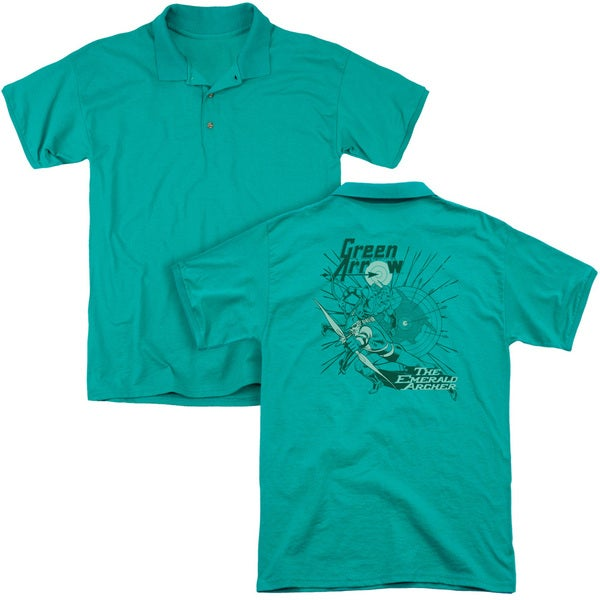 DC/The Emerald Archer (Back Print) Mens Regular Fit Polo in Kelly Green