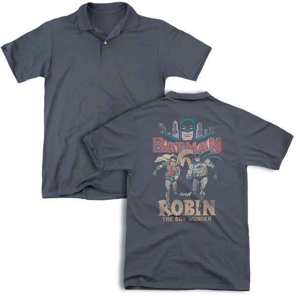 Batman Classic Tv/Classic Duo (Back Print) Mens Regular Fit Polo in Charcoal