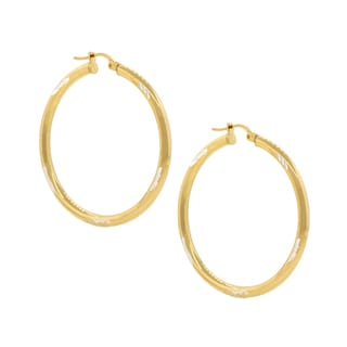 Pori Sterling Silver 18k Two-tone Goldplated Diamond Cut 2-millimeter x 20-millimeter Hoop Earrings