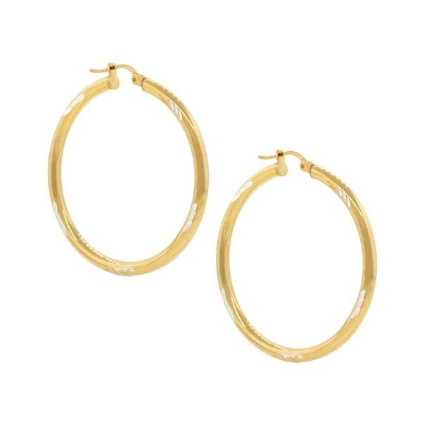 Pori Gold-plated Silver Diamond Hoop Earrings