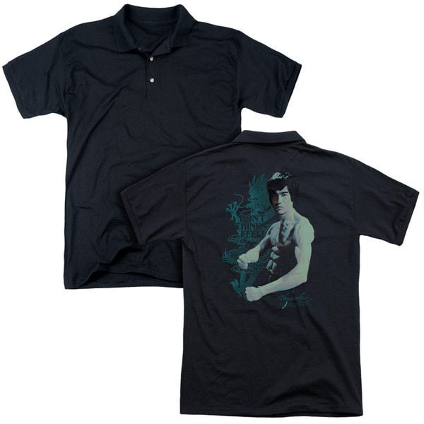 Bruce Lee/Feel (Back Print) Mens Regular Fit Polo in Black