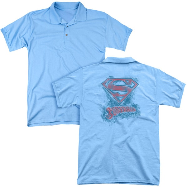 Superman/Its Sketchy (Back Print) Mens Regular Fit Polo in Carolina Blue