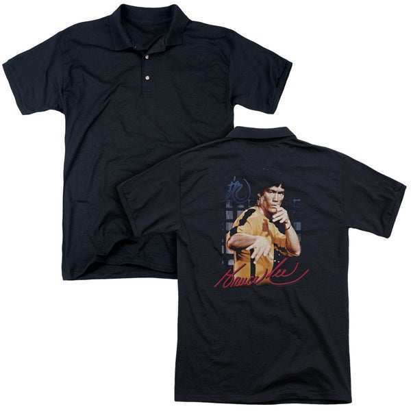 Bruce Lee/Yellow Jumpsuit (Back Print) Mens Regular Fit Polo in Black