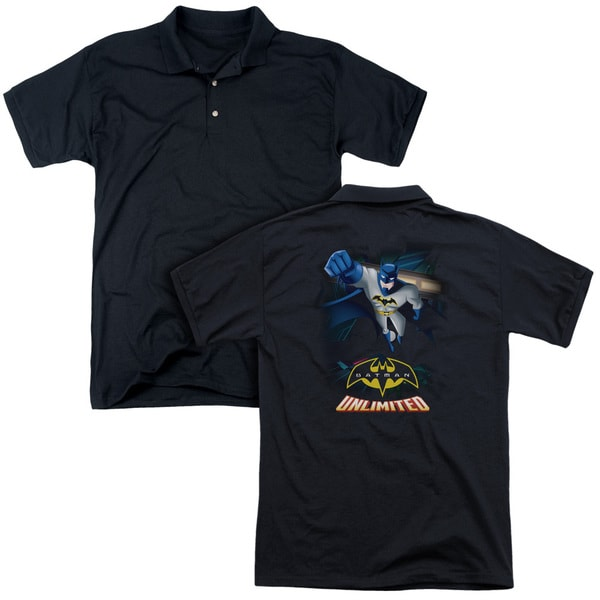 Batman Unlimited/Descent (Back Print) Mens Regular Fit Polo in Black