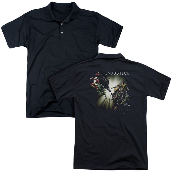 Injustice Gods Among Us/Good Vs Evils (Back Print) Mens Regular Fit Polo in Black
