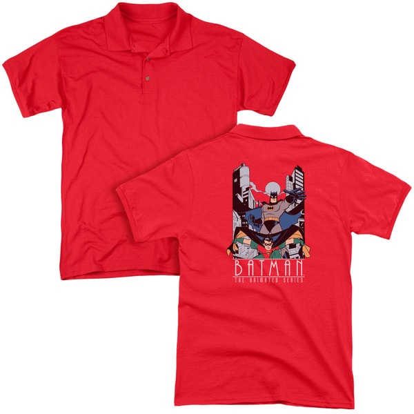 Batman The Animated Series/Batman and Robin (Back Print) Mens Regular Fit Polo in Red