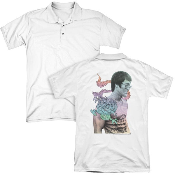 Bruce Lee/A Little Bruce (Back Print) Mens Regular Fit Polo in White