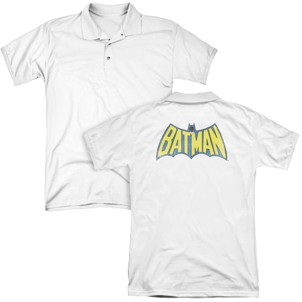 DC/Classic Batman Logo (Back Print) Mens Regular Fit Polo in White