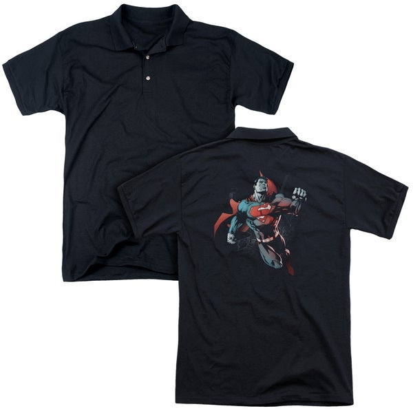 Superman/Up in The Sky (Back Print) Mens Regular Fit Polo in Black