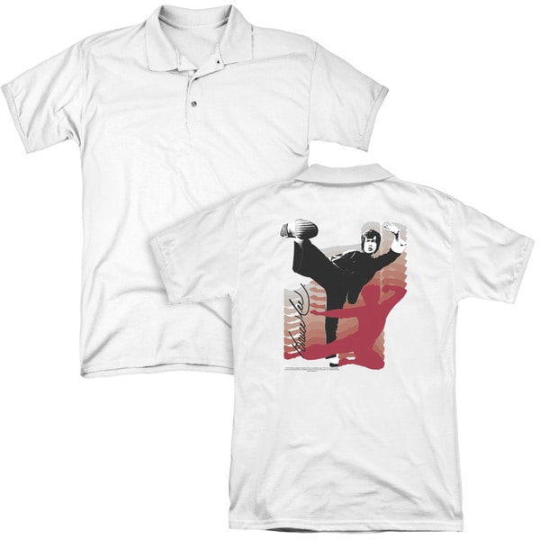 Bruce Lee/Kick It (Back Print) Mens Regular Fit Polo in White