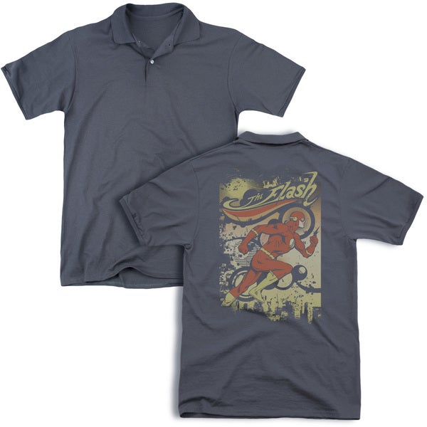 DC/Just Passing Through (Back Print) Mens Regular Fit Polo in Charcoal