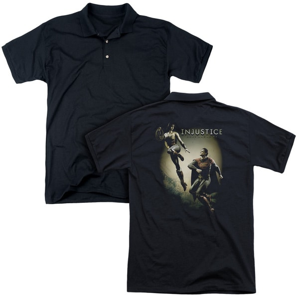 Injustice Gods Among Us/Battle Of The Gods (Back Print) Mens Regular Fit Polo in Black