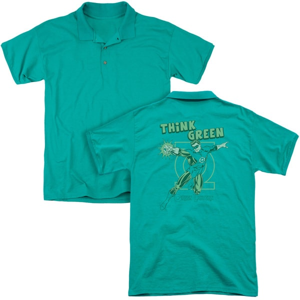 DC/Think Green (Back Print) Mens Regular Fit Polo in Kelly Green