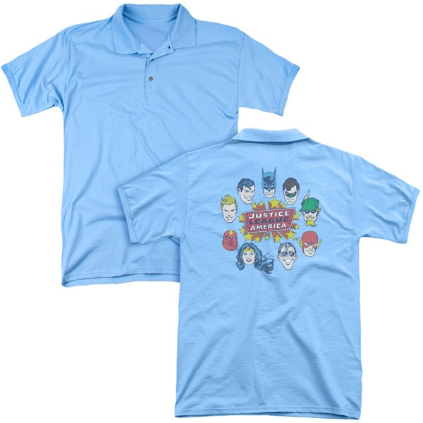 DC/Justice Head Circle (Back Print) Mens Regular Fit Polo in Carolina Blue