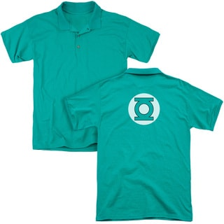 DC/Green Lantern Logo (Back Print) Mens Regular Fit Polo in Kelly Green