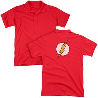 DC/Flash Logo (Back Print) Mens Regular Fit Polo in Red