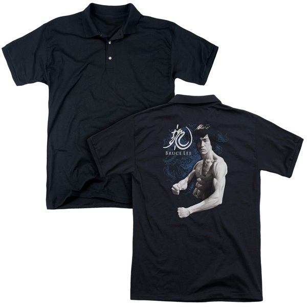 Bruce Lee/Dragon Stance (Back Print) Mens Regular Fit Polo in Black