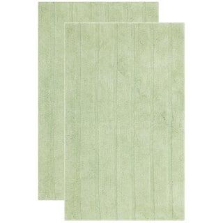 Safavieh Plush Master Spa Stripe Light Green Bath Rug (Set Of 2)