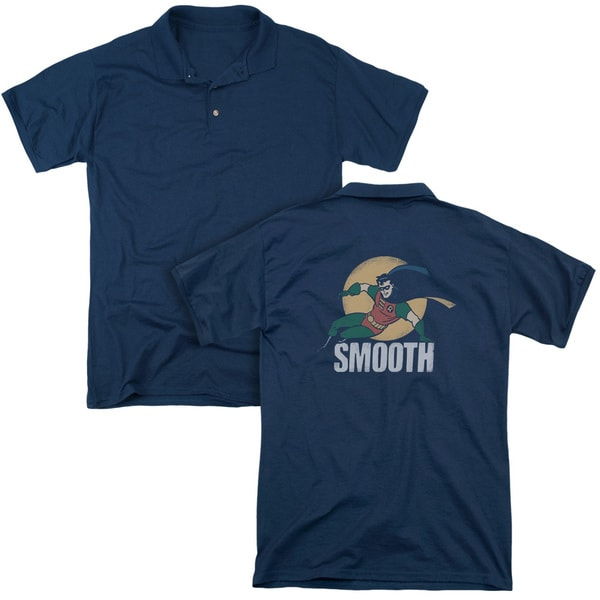 Batman The Animated Series/Smooth (Back Print) Mens Regular Fit Polo in Navy