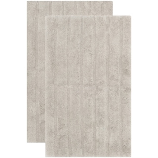 Safavieh Plush Master Spa Stripe Grey Bath Rug (Set Of 2)