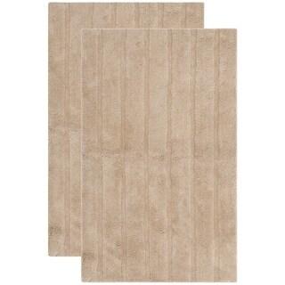 "Safavieh Plush Master Spa Stripe Camel Bath Rug (Set of 2) - 27""x45"""
