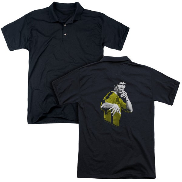 Bruce Lee/Suit Of Death (Back Print) Mens Regular Fit Polo in Black
