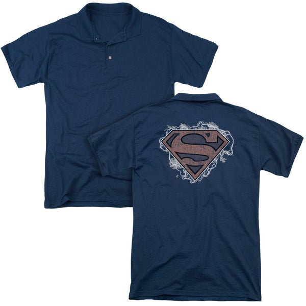 Superman/Storm Cloud Supes (Back Print) Mens Regular Fit Polo in Navy