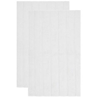 "Safavieh Plush Master Spa Stripe White Bath Rug (Set of 2) - 1'9"" x 2'10"""
