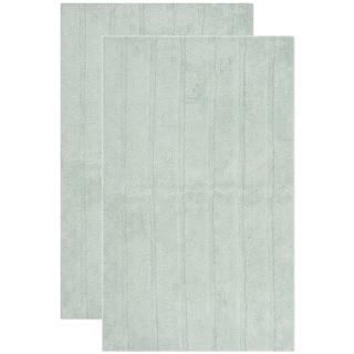 "Safavieh Plush Master Spa Stripe Aqua Bath Rug (Set of 2) - 2'3"" x 3'9"""