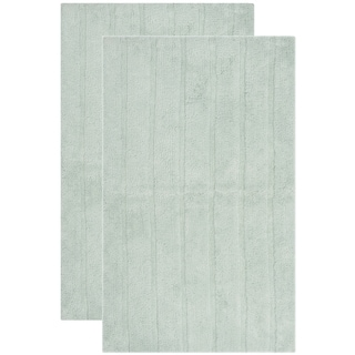 Safavieh Plush Master Spa Stripe Aqua Bath Rug (Set Of 2)